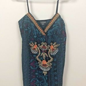 Twenty One Tank Top Size M Blue Embroidered Floral